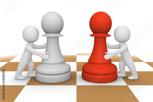 3d people pushing pawns
