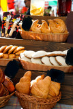 Assortment of baked buns on counter