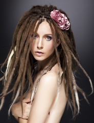 Creative fashion woman mod, dreads - beauty glamour hairstyle