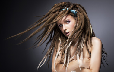 Beautiful sexy fashion woman with dreads. Glamour