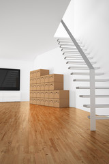 stacked cardboard boxes in room with stairs