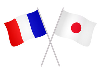 Drapeaux de l'alliance France-Japon
