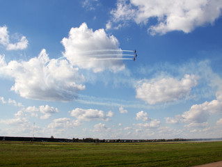 KYIV, UKRAINE - SEPTEMBER 29: planes flying during airshow