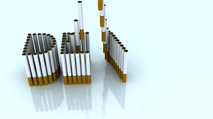written death with cigarettes, 3d animation
