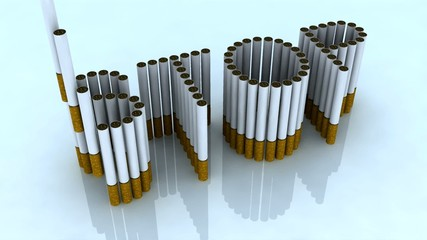written stop with cigarettes, 3d animation