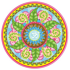 Vector illustrated leafy mandala