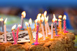 Colorful candles on  birthday cake