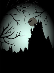 Halloween scary castle thiw the moon
