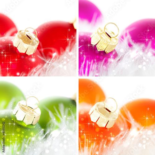 Fotobehang Weihnachtskugeln-Collage