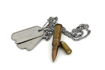 Bullets and dogtag isolated on a white background.