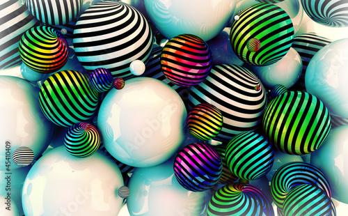 imagen 3d de pelotas,estilo vintage © carloscastilla