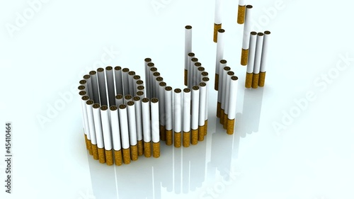 written quit with cigarettes, 3d animation