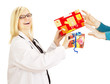Medical doctor grabbing two gifts