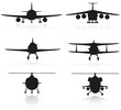 set icons airplane silhouette and helicopter vector illustration