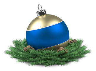 Blue Christmas ball isloated