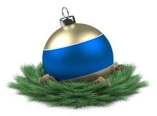 Blue Christmas ball isloated
