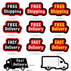Free and fast delivery, shipping set on white.