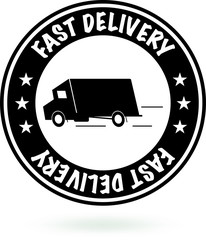 Fast Delivery Sign. Round Black Stamp.