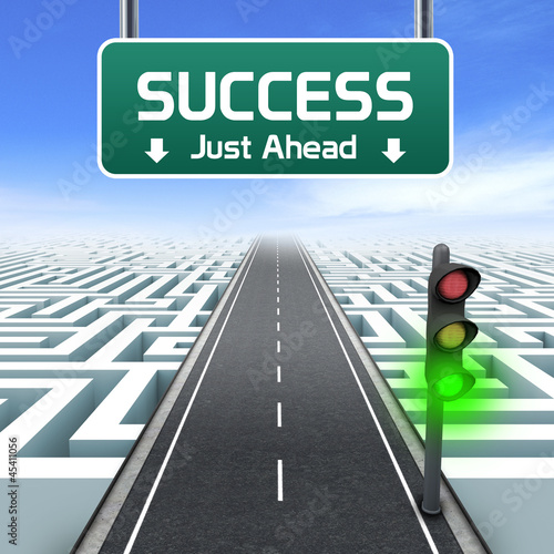 Leadership and business. Success road sign. Labyrinth