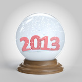isolated snowglobe with 2013 happy new year