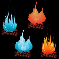 Cole burning icon, barbecue fire.