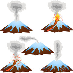 Volcano mountain eruption peak with snow set.