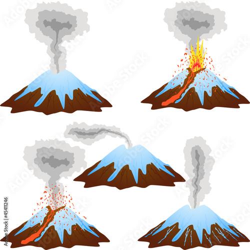 Volcano mountain eruption peak with snow set. - 45411246