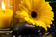 Spa still life with yellow,  dark and water drop