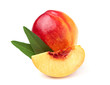 Fresh peach with  leaves isolated