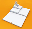 3D DIN Format Konzept A0 bis A8 - Weiß auf Orange 02
