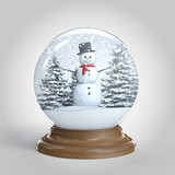 snowglobe with snowman and trees isolated