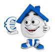 Kleines 3D Haus Blau - Euro Symbol