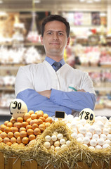 Farmer sells eggs