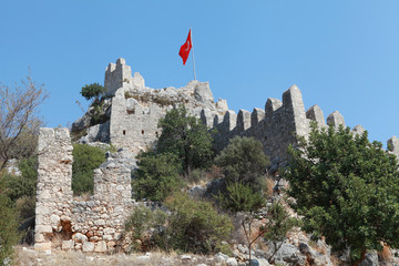View of Castle in Kalekoy, Kekova, Antalya.