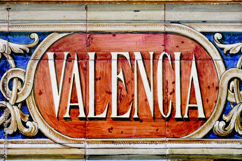 Valencia sign in mosaic tiles