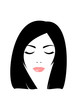 Face of woman with closed eyes and black hair.