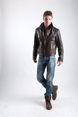 Portrait of young man with leather jacket