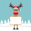 rudolph reindeer red nose hold signboard