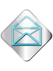 Metal shining square email symbol button