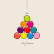 Abstract Christmas Tree Balls Pattern Colored/Beige Silver