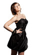 elegant fashionable woman in black dress