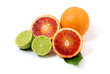 Red orange fruit and green lime
