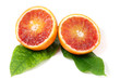 Red orange fruit with leaves