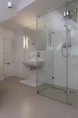 Shower in modern bathroom