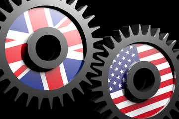 Two gears with the flags of USA and UK