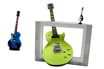 Music instruments and tv screen isolated on white