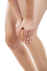 Woman with knee pain on white background