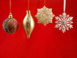 christmas bauble against red background