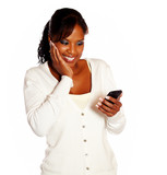 Adult woman reading message on mobile phone poster