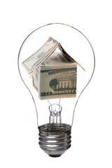 light bulb with dollar house